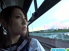 Mao Kurata was riding the bus in her school uniform. A guy sat next to her and forced her to suck his dick.