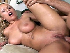 All natural busty blonde enjoys warm stimulation down her tight little ass hole