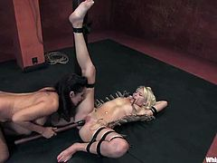 Captivating brunette Isis Love is having BDSM fun with nasty blonde cutie Katie Summers. Isis binds Katie and then destroys her tight pussy with a strapon.