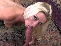 Devon Lee is a beautiful milf with amazing body. This experienced lady with long blonde hair and huge tits spreads her legs invitingly in front of a guy. He licks her trimmed pussy and then sticks his meat pole in her pink dripping wet vagina.