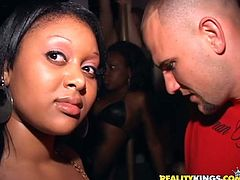 Curvy black girl Creme is playing dirty games with some dude in a club. She pleases the man with a blowjob and then allows him to pound her vagina from behind.