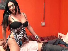Long dark hair, a hard cock and a pair of big naughty boobs! Meet Miriam, a sensual tranny with a lot to offer. She plays with her guy in bed and feeds him with her hard cock. Then, things get more serious as she grabs his head and shovels her cock in his throat. Will our tranny cum in his mouth?