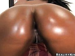 Chocolate Milan Sterling with juicy hooters and trimmed beaver cant stop dildoing her bush