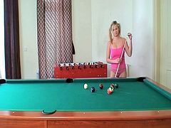 Very sexy blonde chick in pnk outfit plays pool with her daddy's best friend. She got her mouth on his big dick and he nailed her tight pussy for a huge cumshot in her mouth.