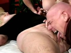 Some stunning and horny mature lesbians are making out in a wild group sex with this bald man! He is about to try the taste of every single pussy!