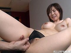 Sexy Japanese milf Nanako Mori shows her great natural tits to some guy and allows him to knead them. Then they have mutual oral sex and fuck in missionary and other positions.