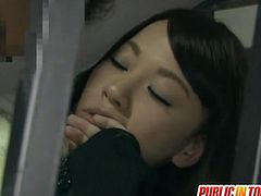 Aroused asian hottie Momo Ogura gets fucked in public, pervert man grabs her tits and lures her into sex right there in the train. She gives head and ends up with his wet cock inside her hairy teen pussy.