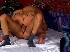 Grey-haired bitch kneels in front of some guy and pleases him with a blowjob. Then she takes his weiner into her old cunt and gets it fucked like never before.