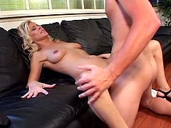 Sweet boy has something in his drink as he felt very horny and can't save himself from this awesome blonde milf. He showed no mercy and punished her pussy!