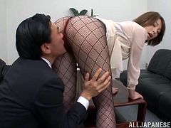 They lock in the conference room and babe starts showing him her sexy legs. Then, she takes him in her mouth and spreads her legs later to be dicked through pantyhose.