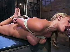 Beautiful blonde girl Mellanie Monroe allows some guy bind and immobilize her in a basement. Then the man rubs Mellanie's cooch with a dildo and it makes her get a bright orgasm.