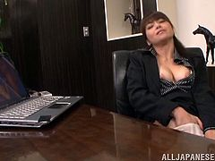 Captivating Japanese office girl Maki Hokujo is having fun at her work place. She takes her pantyhose off and begins to rub her vag with her fingers and some toy.