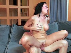 Long haired sexy brunette Ashli Ames cant get enough. She rides on top of cock like theres no tomorrow. She exposes her nice boobs as she bounces on dudes rock hard meat pole.