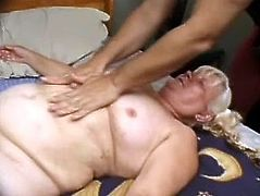 Old blonde fattie Vicky Salas is having fun with some guy in a bedroom. She favours the dude with a blowjob and then welcomes his weiner in her disgusting twat.
