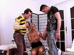 Splendid blonde babe with juicy butt Vanessa Jordin brags off her goodies and gets her asshole eaten. After getting her pussy finger fucked babe gives amazing blowjob.