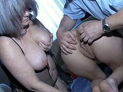 Raunchy granny stands on her all four exposing her gross pussy in all the glory. She gets her cunt stuffed with ball. Perverted daddy stretches her vaginal folds wide.