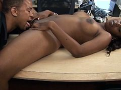 Ghetto girl reveals her wild side in this video as she gets down and dirty with well hung black stud, they're all talking and before you know it, she sucking his cock and getting her black pussy pounded.