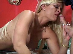 Ultrablonde bombshell has incredible hot body and enormous round melons as she sucks huge male power tool. Then she jumps on numb rod and wants to eat his jizzload.