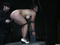 Bosomy bitch Bella Rossi is having fun with some guy in a basement. She lets the dude tie her up and then gets her cunt unforgettably pounded with a dildo.