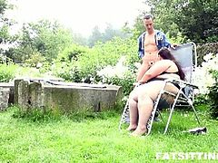 Jitka sits her pussy on slimy tongue as this nasty brunette BBW sucks this young cock. This outdoor encounter surely gets greasy to the maximum and there is no resisting the fun.