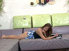 With that pretty face and her young, sexy body miss Leigh can raise any straight cocks! She lays on her couch, lazying around when this dude approaches and pays her some attention. That was all she needed to get horny so she opens her pretty mouth and blows his dick. Look at those lips sliding on his penis!