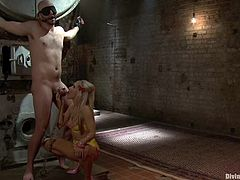 Amazing blonde mistress ties David Chase up. Then she tortures and sucks his dick. Later on she gives him a handjob and gets her pussy licked.