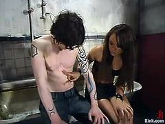 It's a POV BDSM action video with Annie Cruz strapon fucking the guy's butt before giving him a great handjob in a bondage session.