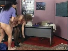 She is wearing black stockings and she loves hard cock, that wild and nasty mature makes her worker fuck her in the office because she is his boss.