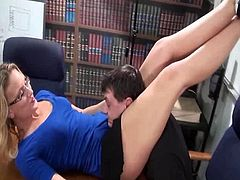Hot secretary squeezing the hell out of his unbearable boss