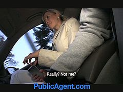 A pretty blonde chick is playing dirty games with some dude in a car. She drives the stud crazy with a terrific blowjob and then they bang in cowgirl position.