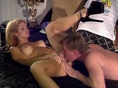 Petite blonde milf Barett Moore moves her legs wide apart and allows some dude to eat her snatch. Then they have anal sex in missionary position and enjoy it much.