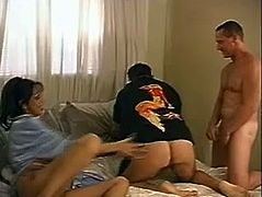 Threesome sex with two bisexual men and this horny siren Angela D Angela. Bisexuals Chance Caldwell and Scott Mann are fucking so hard.