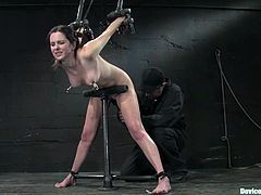 Cute brunette Winter Sky allows some dude put her into chains in a basement. The dude whips the slut and then pleases her with unforgettable fisting.