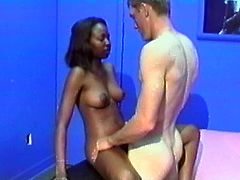 Get a load of this amateur video where this horny ebony babe's stuffed by this fella's big white cock as you take a look at her big round ass.