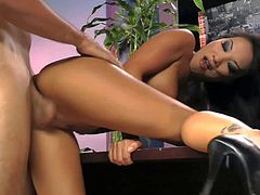 Hot ass asian superstar Asa Akira with dark heavy make up and perfectly shaped firm tits in high heels only gets shaved twat drilled from behind by Ryan Driller.
