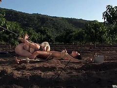 It's a lesbian femdom threesome taking place outdoors on the fields. See these girls forced to eat pussy as they are tied up and toyed!