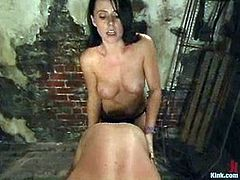 Slim brunette chick lifts her nightie up and gets her pussy licked by her sex slave. After that she rides his dick and toys his ass with a strap-on.