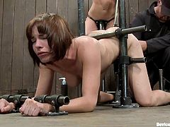 What a petite redhead siren Ariel X is! She gets caged and her master takes her out of the cage to give her some pain. No BDSM shall be held without twitching tits.