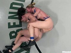 A lustful blonde lesbian called Darling is having a wrestling match with Bobbi Starr on tatami. The bitches beat each other and then Darling rubs Bobbi's snatch and fucks it brutally with a strapon.