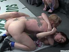 That's what a hardcore lesbian catfight looks like! Two naughty chicks are going to get over this blond honey and she is living through some lesbian hell.
