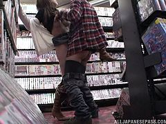 This naughty chick went to a Japanese sex shop where she ended getting fucked hard by a dude who was looking for the same thing as her: get off.