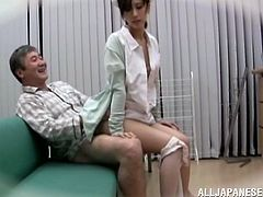 Horny nurse sits on her patient and rides him