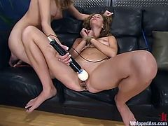 Hot chick gets tied up and spanked by her mistress. Later on she also gets her vagina toyed with a vibrator and drilled with a strap-on.
