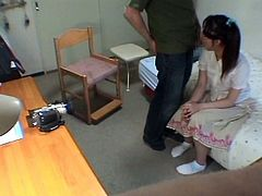Her perverted private tutor decided to have some fun with this Asian schoolgirl. She is blindfolded and sucks his cock for a cumshot!