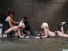 Two blonde chicks lick each others pussies with pleasure and then get bounded. Later on they get humiliated and toyed by their brunette mistress.