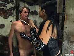 In his career of being a sex slave, he hadn't met any furious mistress than Mika Tan is! She was so fucking heartless towards him in this BDSM video!