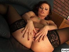 This breathatking brunette enchantress in sexy black stockings has curves in all the right places. In this hot masturbation video she acts really naughty. She finds a dildo that suits her needs and starts her masturbation session.