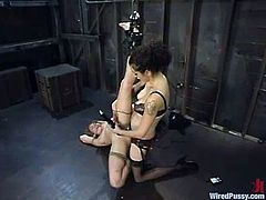 This blonde faces different things: boobs will be tortured, pussy will be toyed and her whole body tied up in ropes in this bondage session.