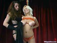 That's a fucking classic! Juicy Kym Wilde in sexy fishnet stockings bends over that horny stripper Xana Star. She waxes her petite ass and drills her with a that toy!