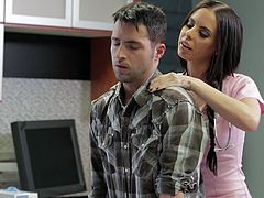 Lucky patient meets hot dark haired nurse at the hospital. Sassy beauty goes down on her stud taking his pants off and sensually sucking his big dick.